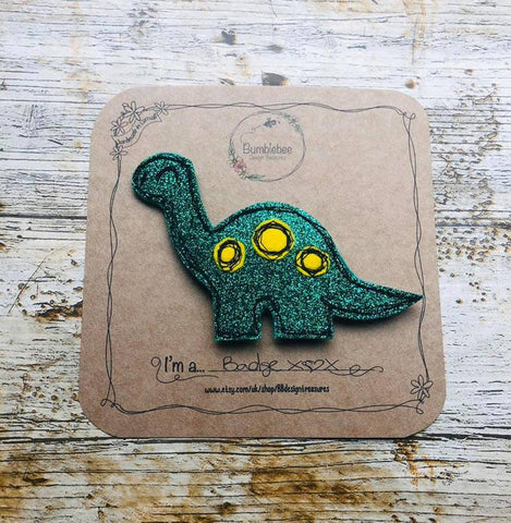 Dinosaur Glitter Brooch / Badge - Bumblebee Design Treasures