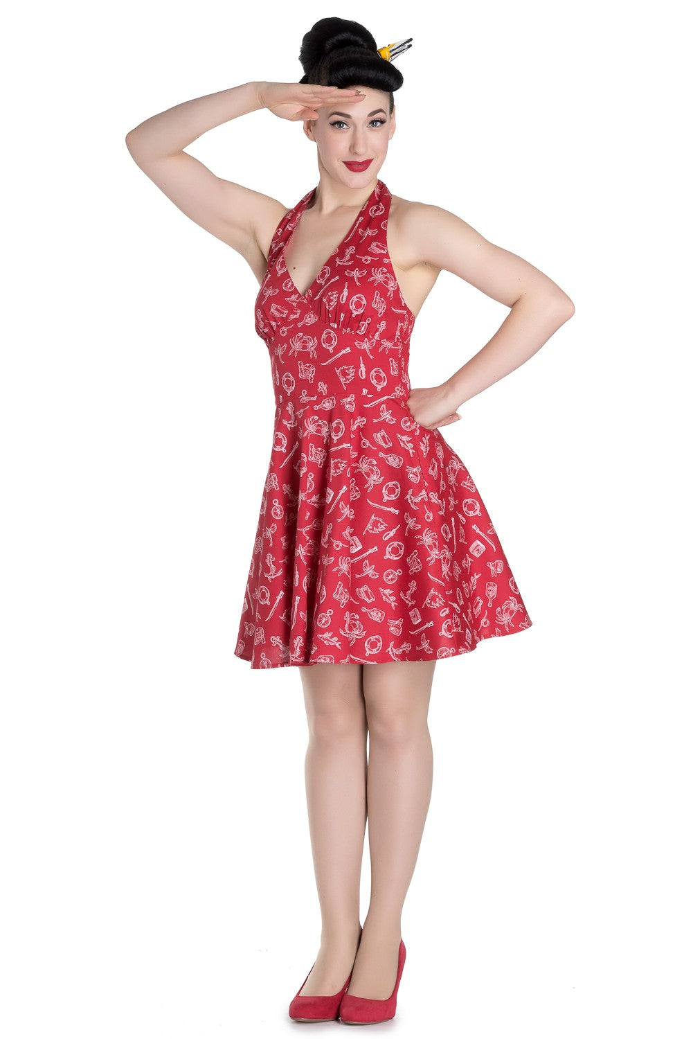 Marin Red Nautical Dress ~ Hell Bunny