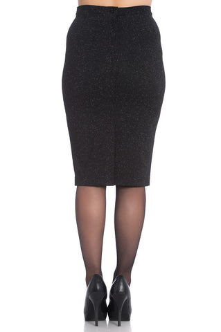 Nebula Black Glittery Pencil Skirt ~ Hell Bunny