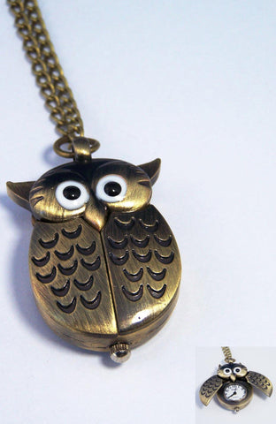 Bronze Owl Pendant Watch