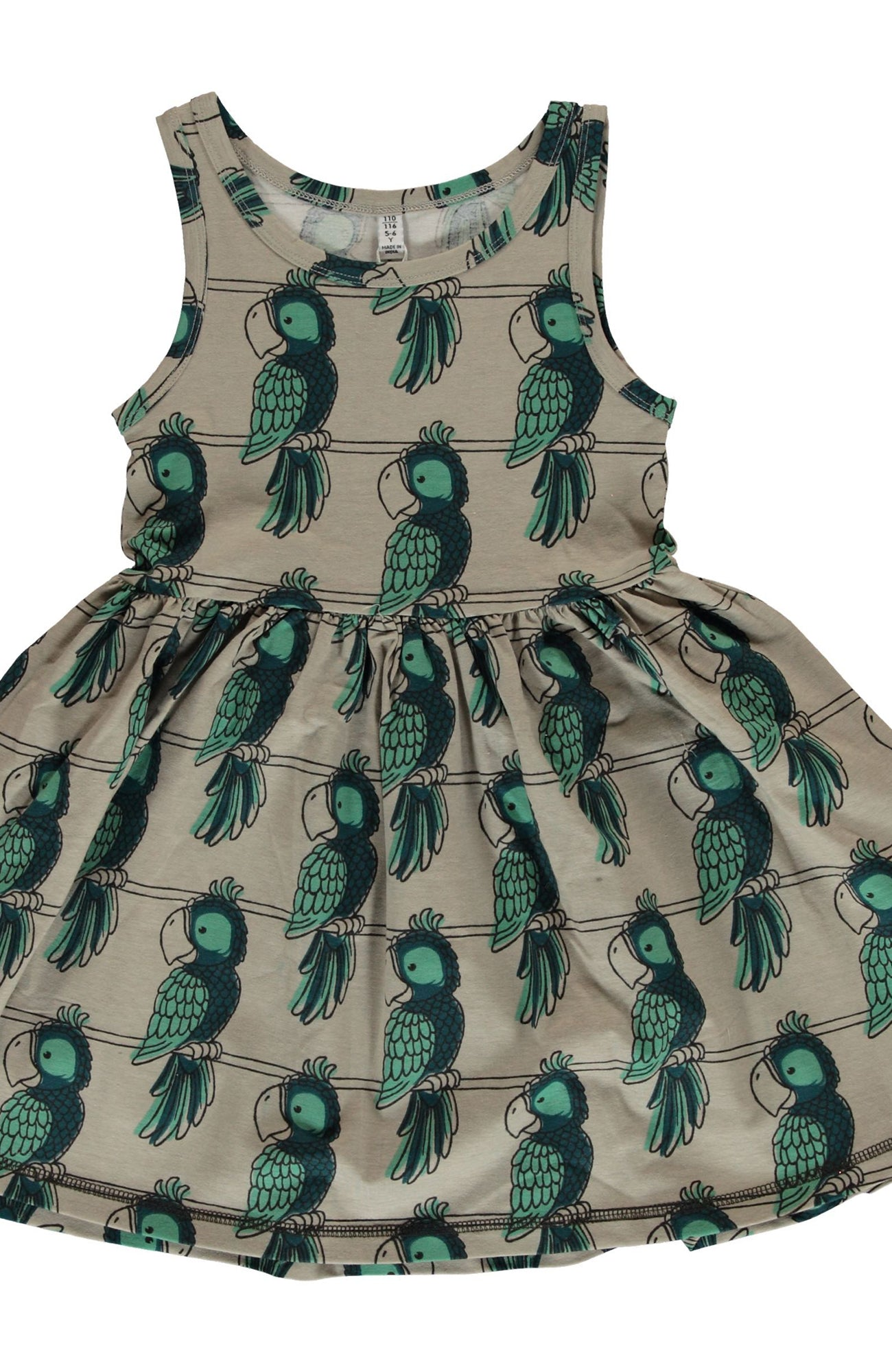 Parrot No Sleeved Spin Dress ~ Maxomorra