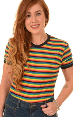 Retro Rainbow Brights Striped Short Sleeved T-Shirt ~ Run & Fly