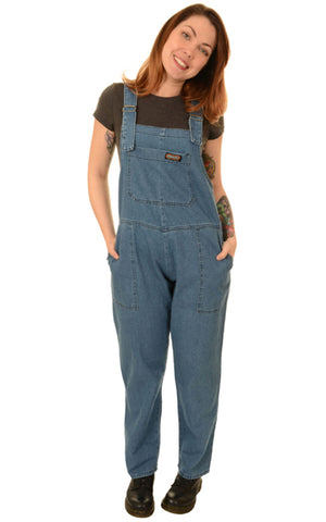 Retro Stone Wash Blue Denim Extra Baggy Dungarees ~ Run & Fly
