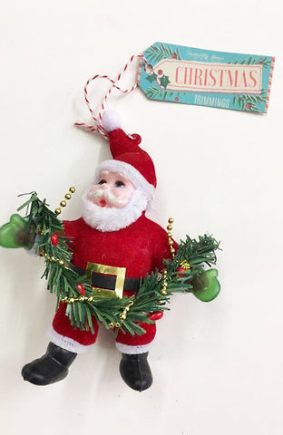 Christmas Retro Santa Flocked Decoration ~ Temerity Jones
