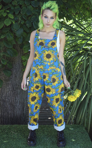 Sunflower Dungarees [stretchy twill] with coordinating turn ups + Free Enamel Pin ~ Run & Fly