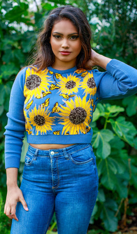 Sunflower Crop Knitted Jumper - Run & Fly