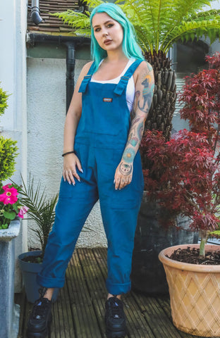 Ink Blue [Teal] Corduroy Dungarees + Free Pin~ Run & Fly