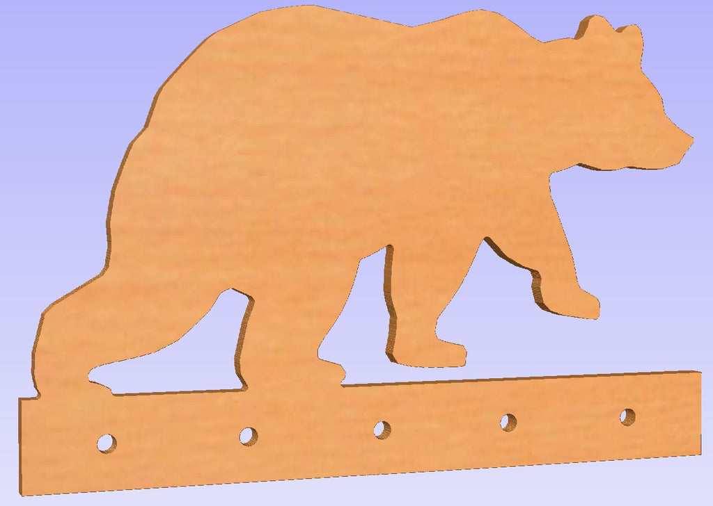 5 Hook Bear Shaped Wall Mounted Coat Rack