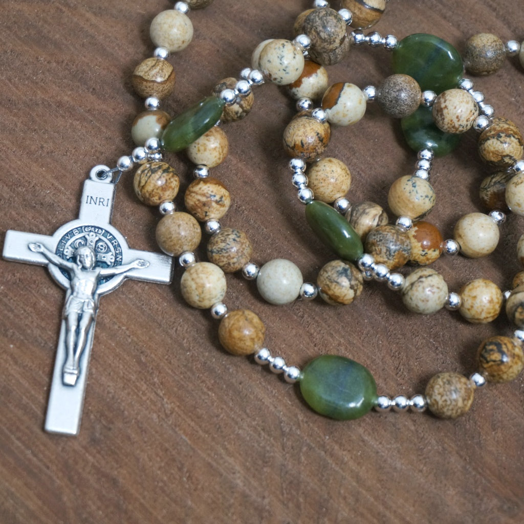 Catholic Rosary: Picture Jasper, Serpentine, Silver