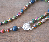 Small Catholic Rosary: Colorful Mixed Impression Jasper
