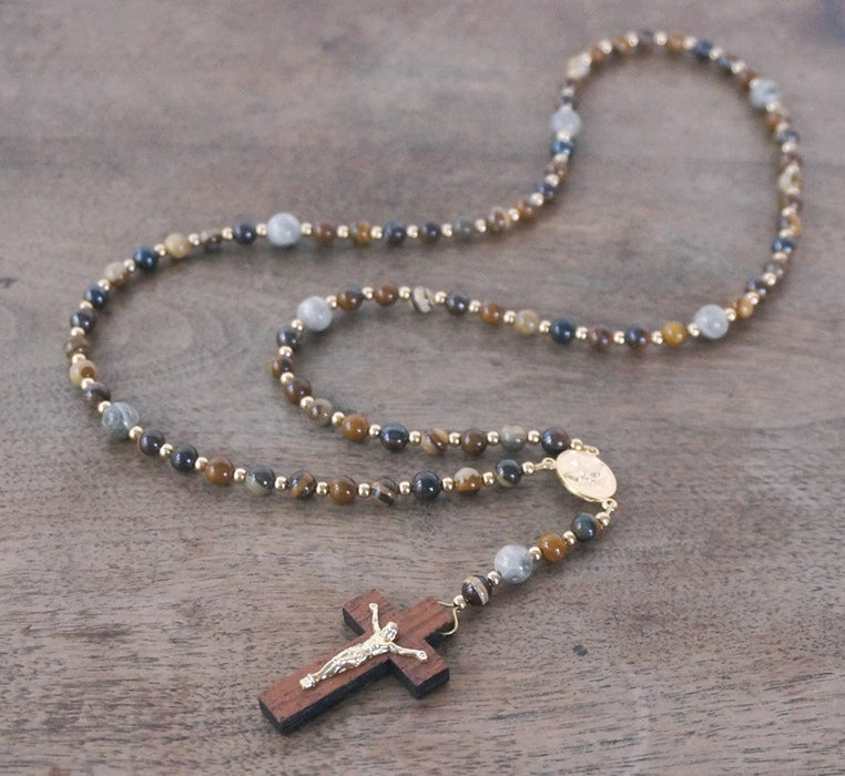 Franciscan Rosary: Jupiter Jasper, Fossil Coral, Gold Accents