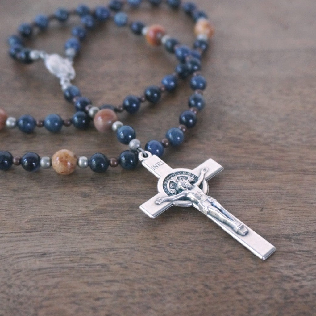 Franciscan Rosary: Blue Dumortierite & Agate