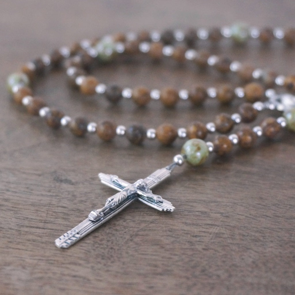 Small Catholic Rosary: Chrysanthemum Stone & Glass