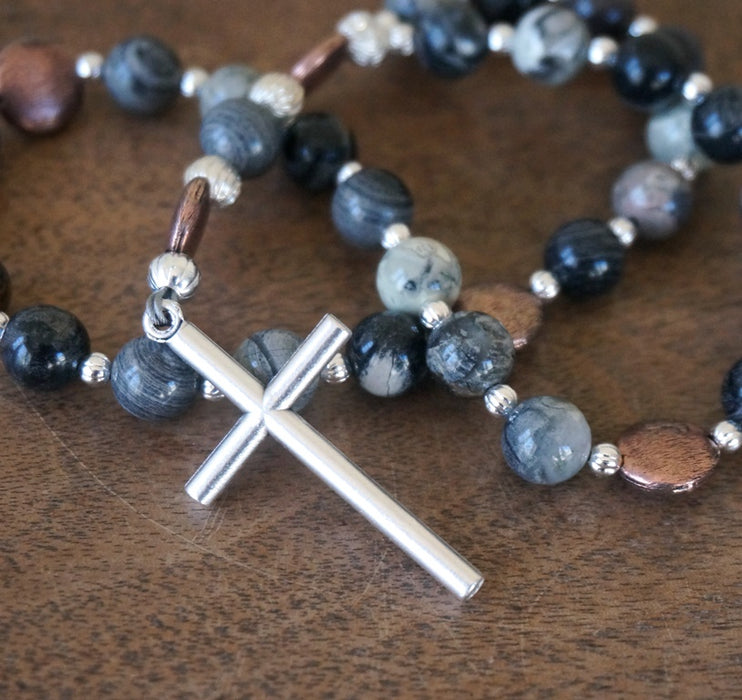 Christian Rosary: Silver Leaf Jasper & Mixed Metals