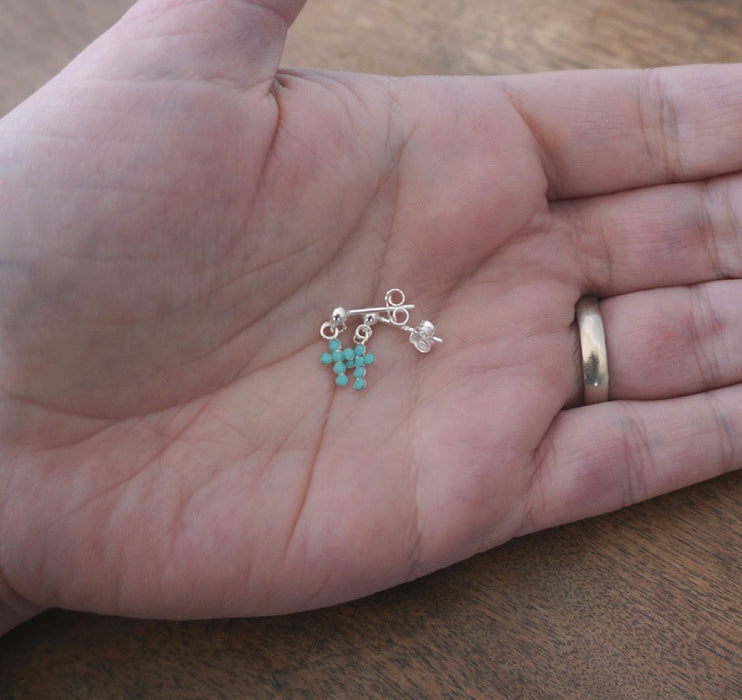 Tiny Sterling Silver Cross Earrings: Turquoise