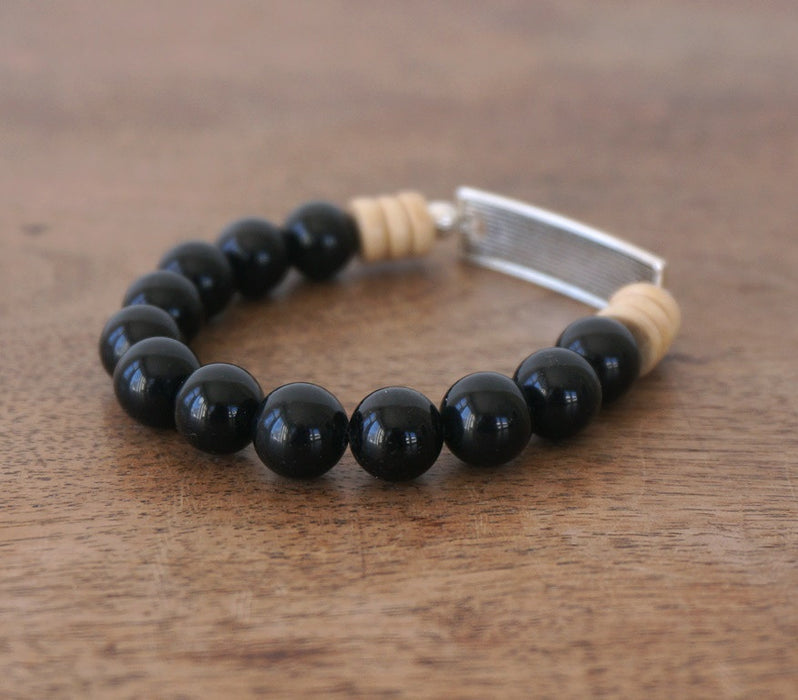 FAITH bracelet: Obsidian & Wood