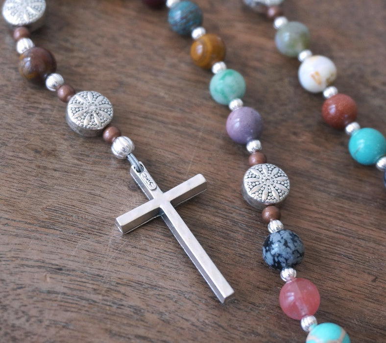 Christian Rosary: mixed gemstone