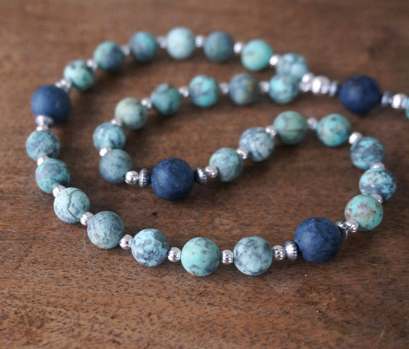 Christian Rosary: matte blue gemstone