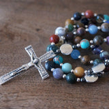 Catholic Rosary: Mixed Gemstone, Silver, Gunmetal