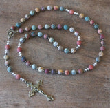 Catholic Rosary: Matte Jasper, Mixed Metal