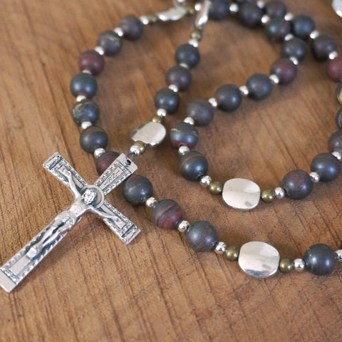 Catholic Rosary: Matte Tiger Iron, Mixed Metal