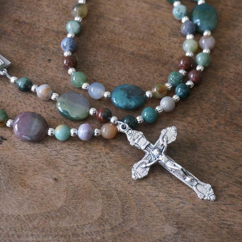Franciscan Rosary: Fancy Jasper Gemstone