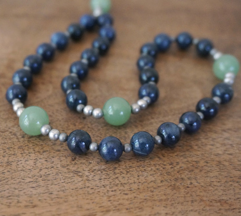 Christian Rosary: natural blue & green gemstone