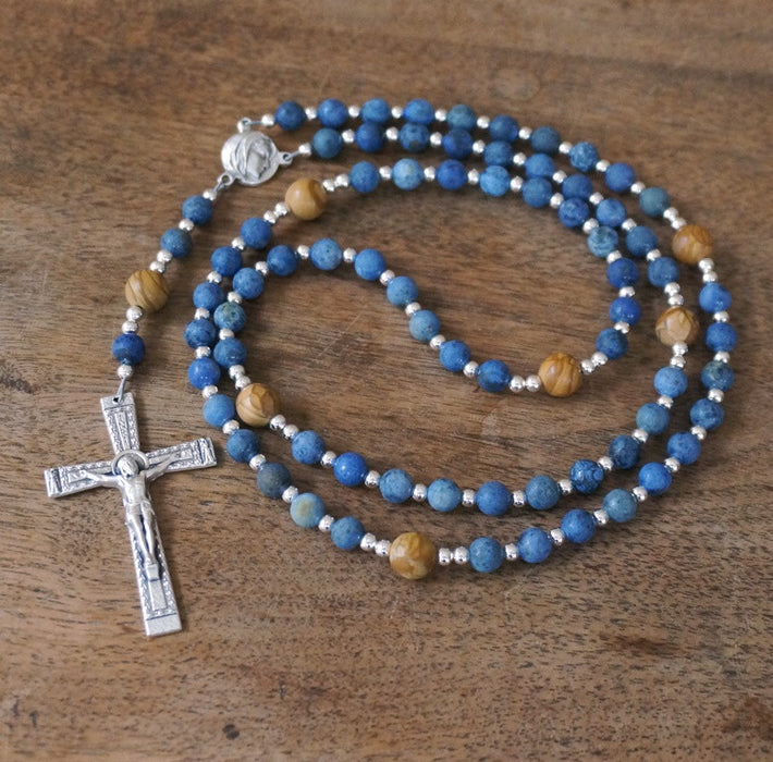 Franciscan Rosary: matte gemstone blue & brown