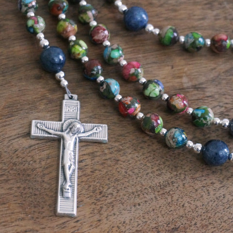 Catholic Rosary: Mixed Impression Jasper, Dumortierite, Silver