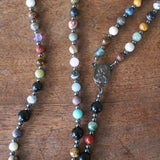 Franciscan Rosary: Mixed Gemstone & Gunmetal