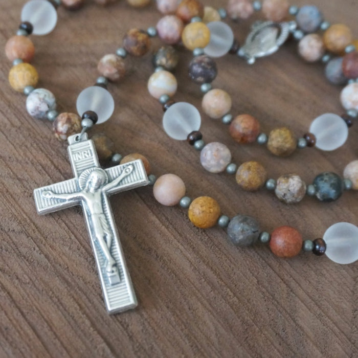 Catholic Rosary: Matte Rainbow Agate, Quartz, Silver, Wood