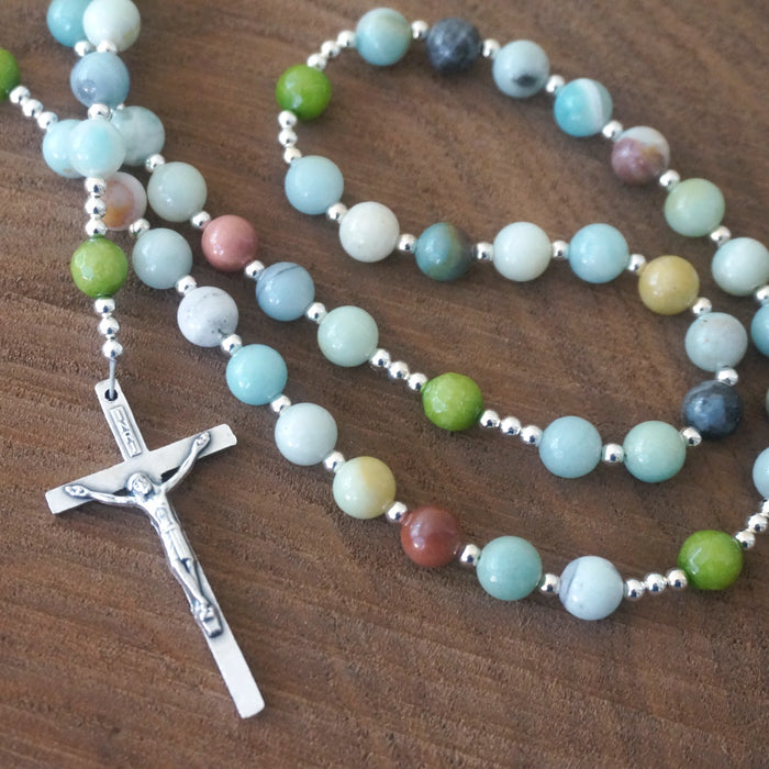 Catholic Rosary: Amazonite, Candy Jade, Silver