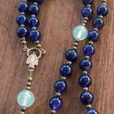 Catholic Rosary: Amethyst, Serpentine, Brass