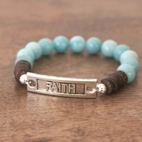 FAITH bracelet: Amazonite & Wood