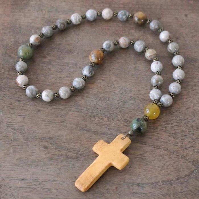 Christian Rosary: Fossil Coral & Flower Jade