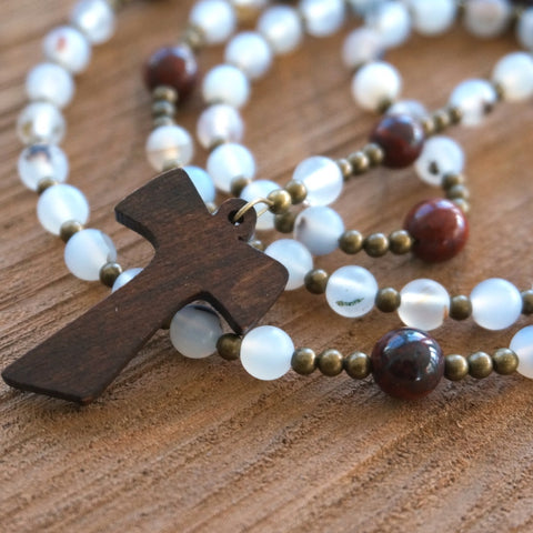 Franciscan Rosary: Matte Montana Agate, Red Brecciated Jasper & Brass
