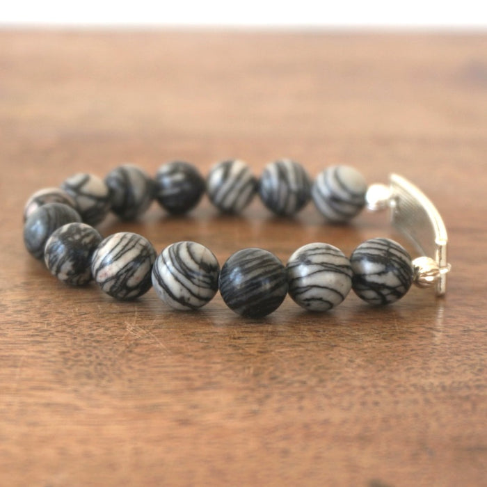 FAITH bracelet: Black Silk Stone