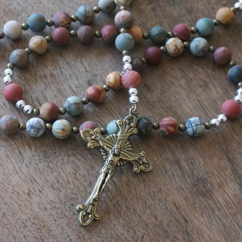 handmade rosary for sale by Holy Rocks: matte gemstones & brass