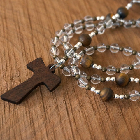 Franciscan Rosary: Quartz and Tigereye