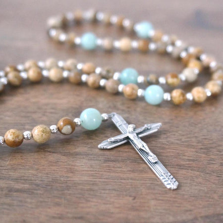 small Catholic pocket rosary brown Picture Jasper & aqua colored Amazonite