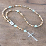 Small Catholic Rosary: Picture Jasper & Amazonite