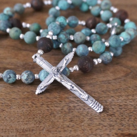 Rosary, modern with matte African Turquoise Jasper & brown Dzi Agate beads
