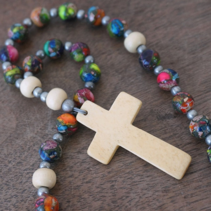 Christian Rosary: Mixed Impression Jasper & Wood
