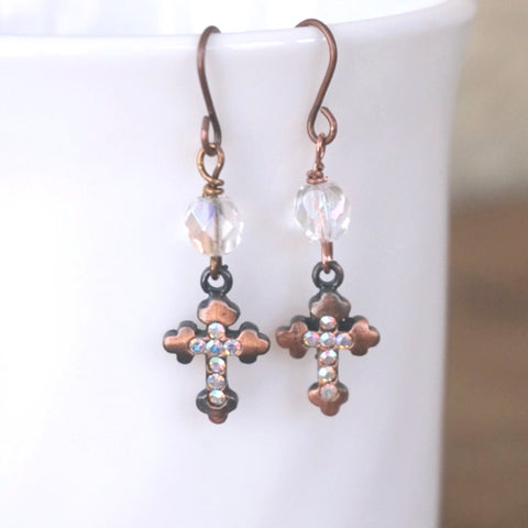 Dangle Earrings: Copper & Crystals