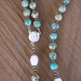 Catholic Rosary: Rose Quartz, Impression Jasper, Mixed Metals