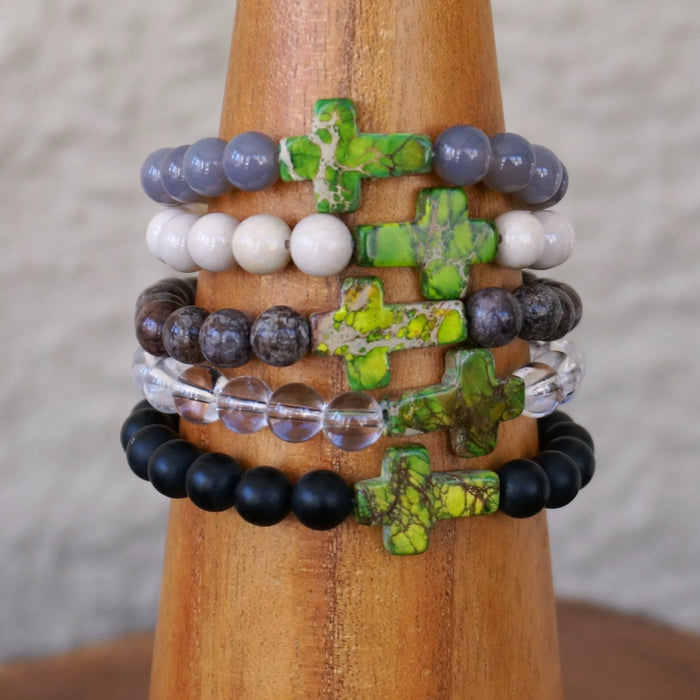 Stone Cross Bracelet: Purple / Green Impression Jasper
