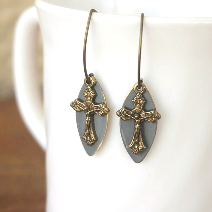 Dangle Earrings: Brass Crucifix with Grey Accents