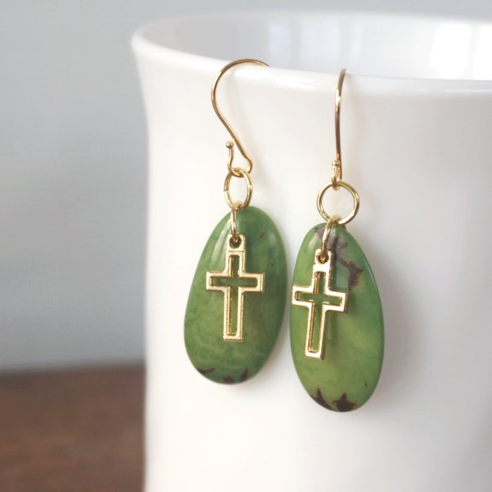 Dangle Earrings: Gold & Green Tagua Nut