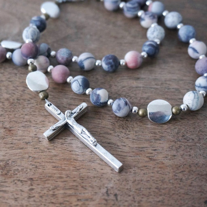 handmade rosary with modern matte Porcelain Jasper & mixed metals