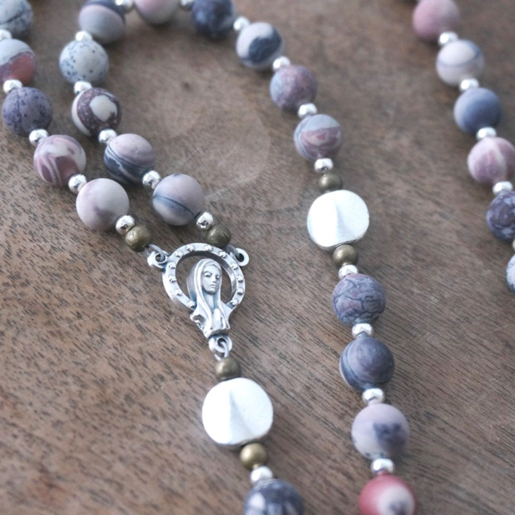 centerpiece closeup handmade rosary with modern matte Porcelain Jasper & mixed metals